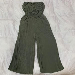 Olive Green Strapless Jumpsuit / Romper Size Small